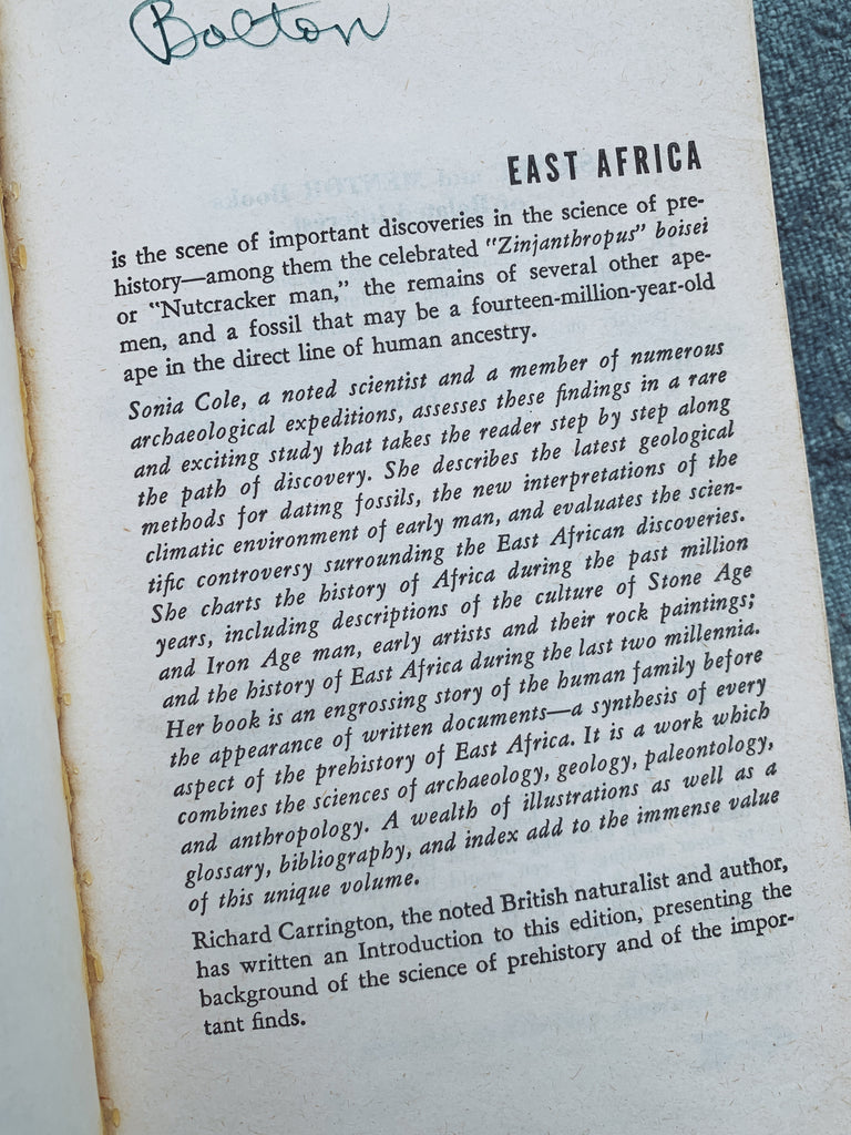 "Vintage Paperback ""The Prehistory of East Africa"" by Ed. by Sonia Cole (1965)"