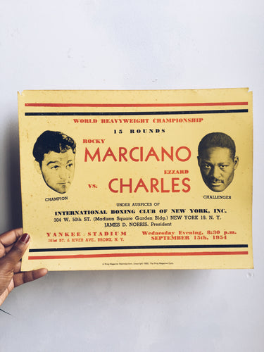 Vintage Marciano vs Charles Ring Magazine Boxing Poster