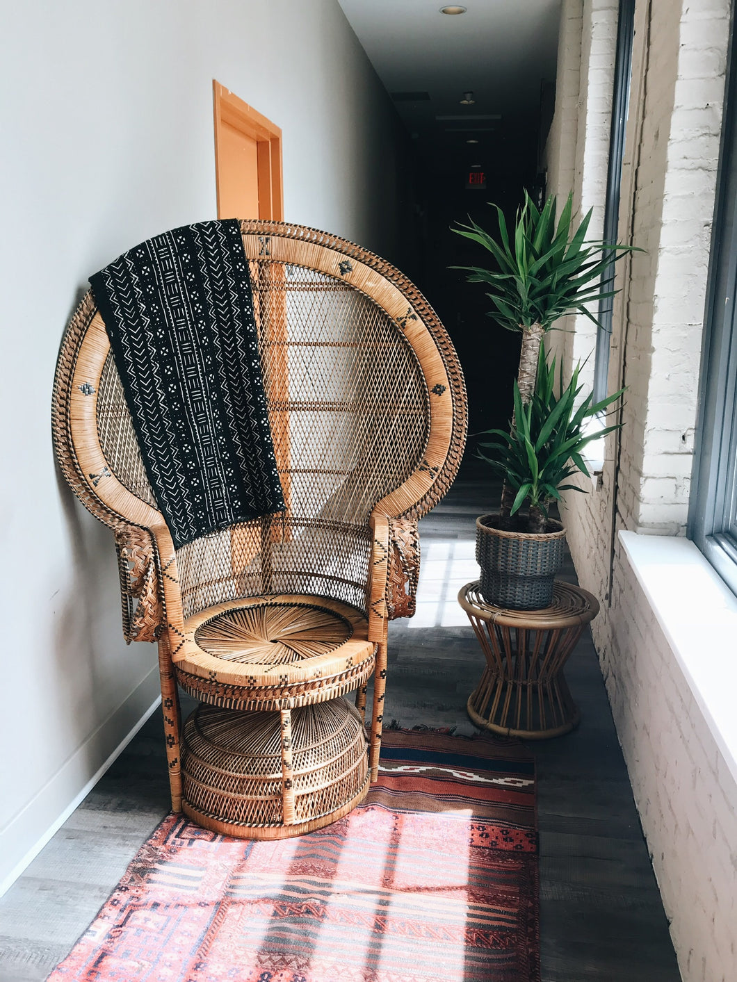 Vintage 1970's Rattan/Wicker Large Peacock Chair // Local Delivery Only