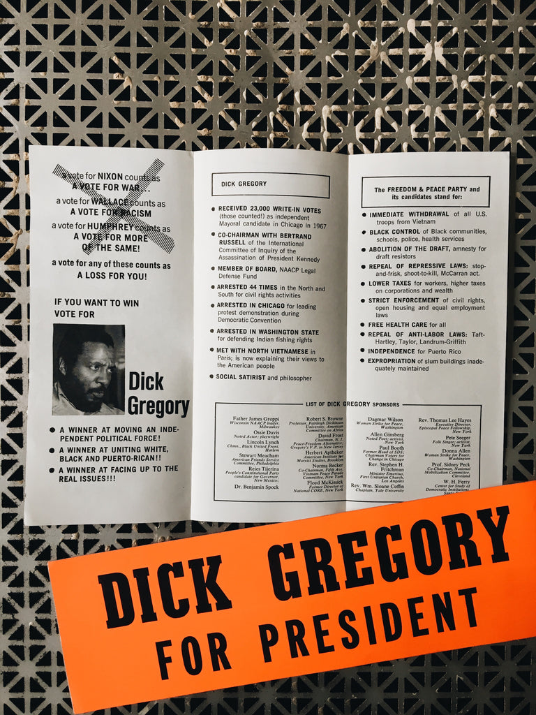 Vintage Dick Gregory Presidential Campaign Tri-Fold Pamphlet (1968)