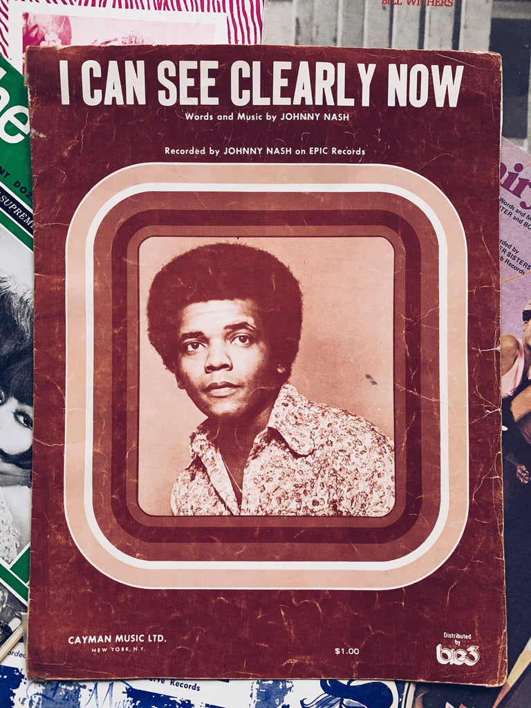 "Vintage ""I Can See Clearly Now"" by Johnny Nash Sheet Music (1972)"