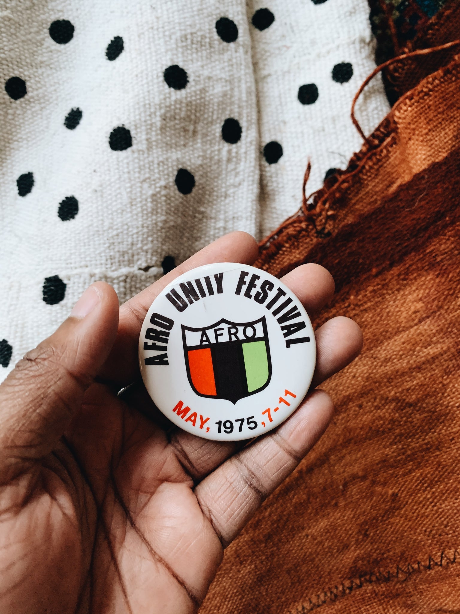 Vintage Afro Unity Festival Celluloid Pin (May 1975)