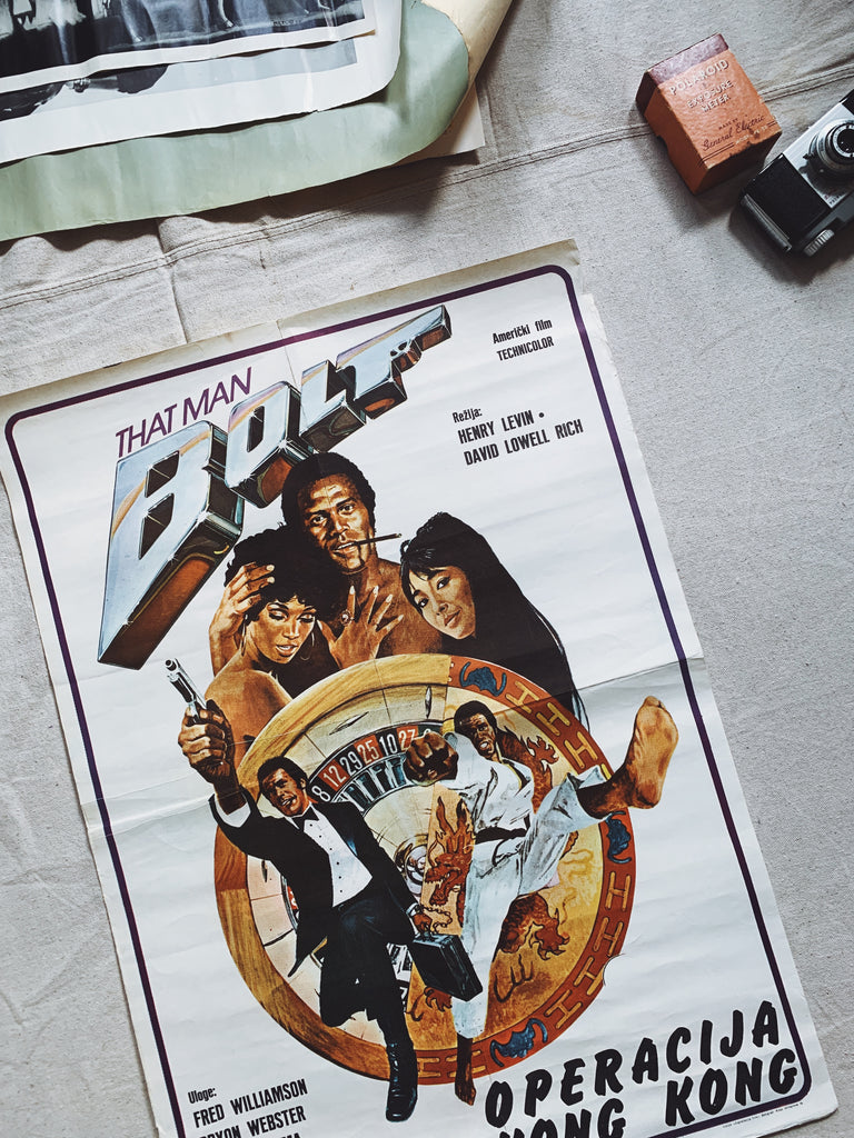 "Vintage ""That Man Bolt"" Blaxploitation Film Poster (Russian)"