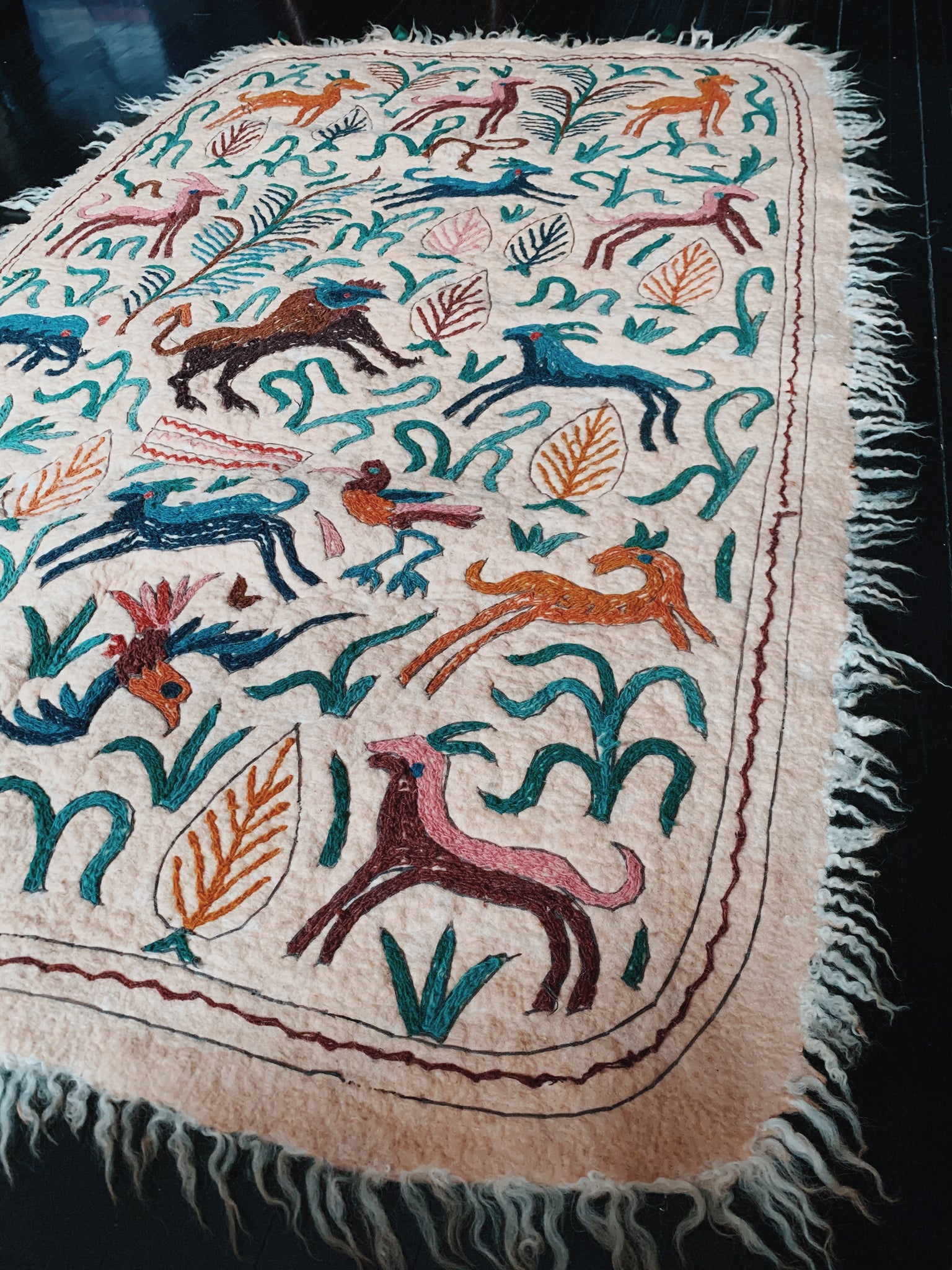 Vintage Woven Wool Embroidered Textile (South American, 1970's)