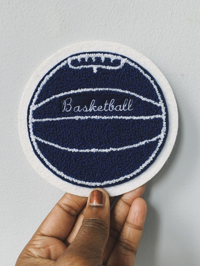 Vintage Chenille Basketball Patch (Navy, 1970's)