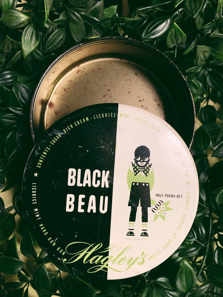 Vintage Rare Hagley's Black Beau Licorice Candy Tin (1950's)