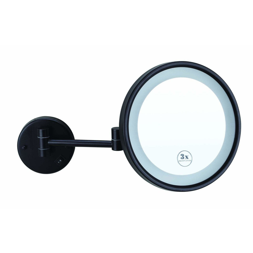 3x Magnification Backlit Mirror  – Matt Black