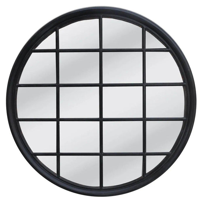 Hamptons Round Mirror - Black