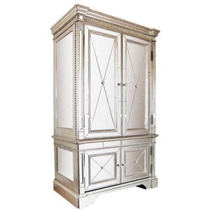 Mirrored Storage Cabinet Antique Ribbed