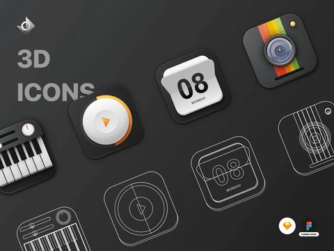A mockup of four 3D skeuomorphic icons and their wireframe versions. The icons included are: piano, video button, calendar, and camera.