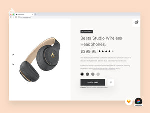 A desktop web mockup of a Beats headphones product page.