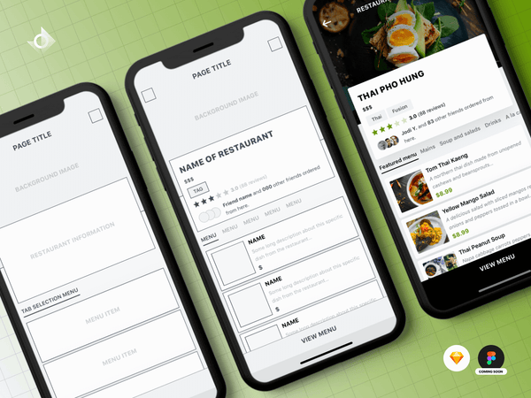 Mockups of a iPhone X's food ordering app's user interface (UI) design tutorial.