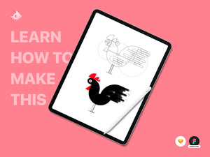 "Illustrations of a wireframe and colored geometric chicken with the text ""Learn How To Make This!"""