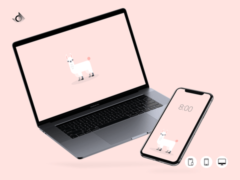 A mockup of a macbook and iphone showing the geometric judgemental alpaca wallpaper.