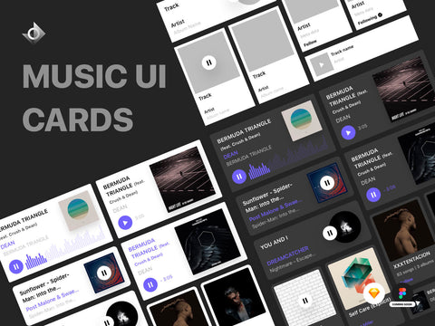 A preview of both dark and light themed UI cards kit for a music app.