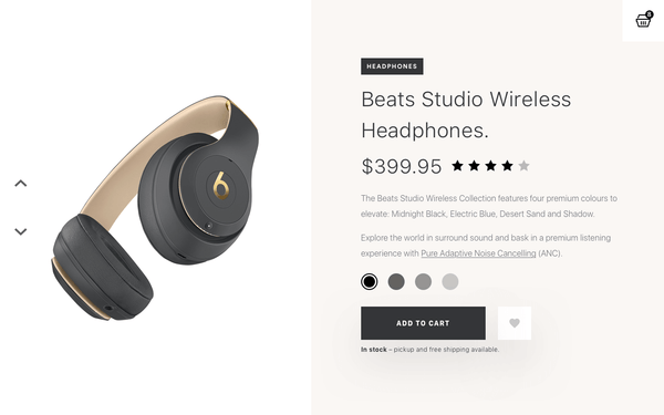 A desktop mockup of a beats headphones e-commerce product detail page.