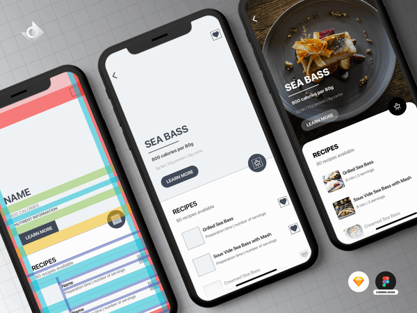Mockups of an iPhone X recipe app's user interface (UI) design tutorial.