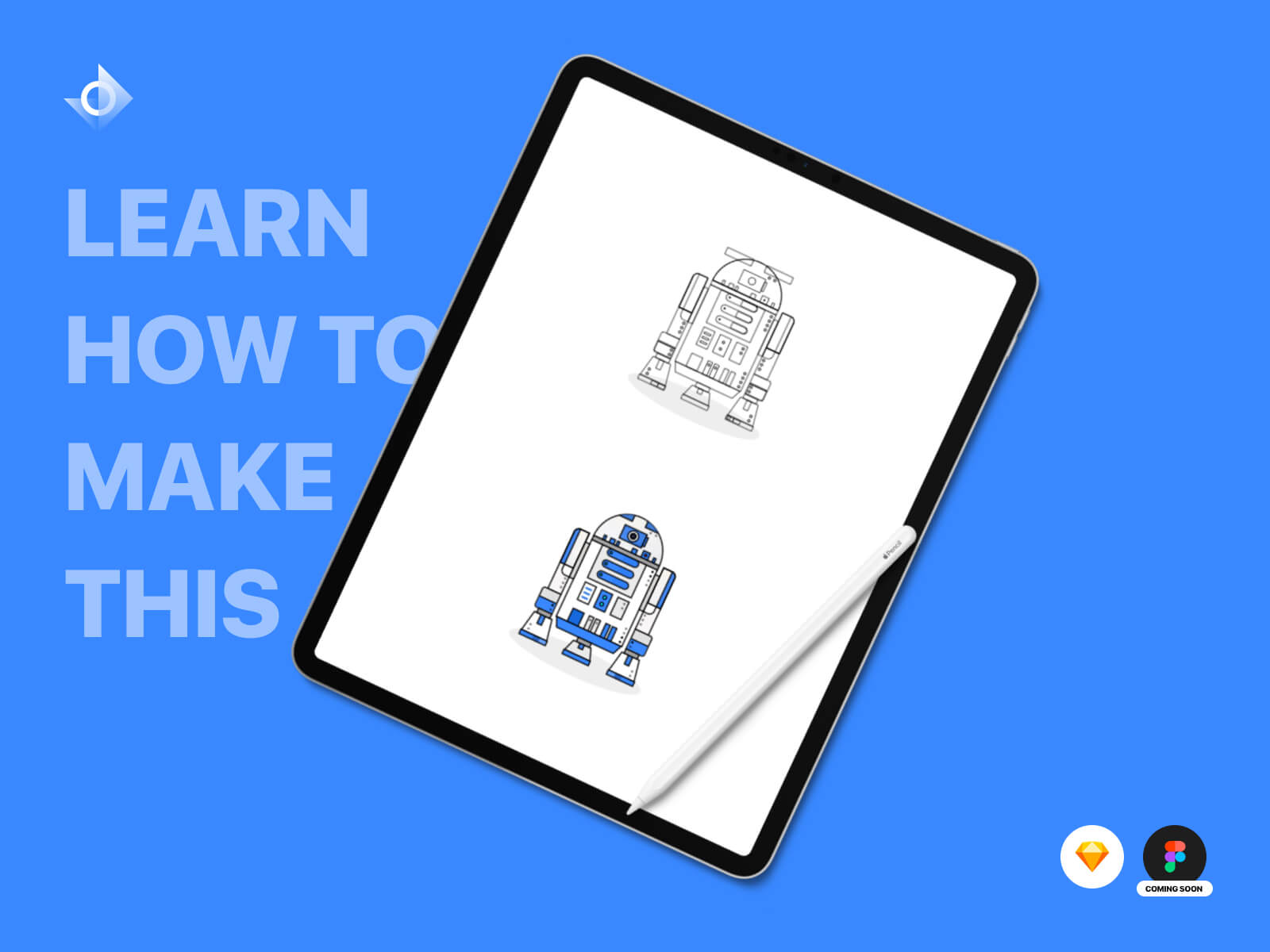 "Illustrations of Star Wars robots ""BB-8"" and ""R2D2"" with the text ""Free Source File!"""