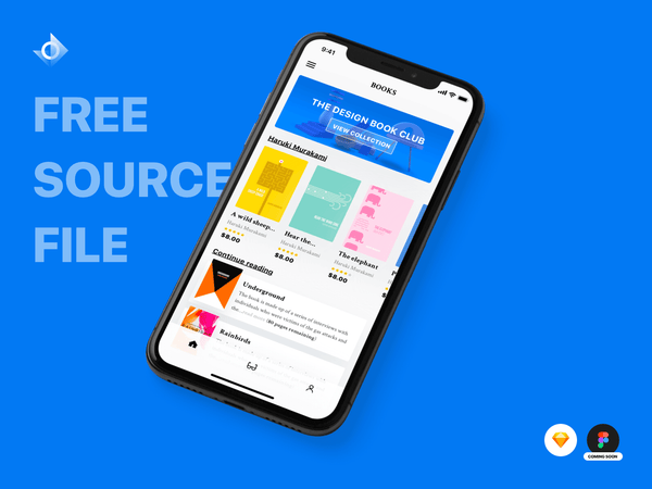 "A mockup of a iPhone X reading and book marketplace app with the text ""Free Source File!"""