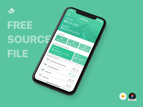 "A mockup of a iPhone X finance transactions app on the overview screen with the text ""Free Source File!"""