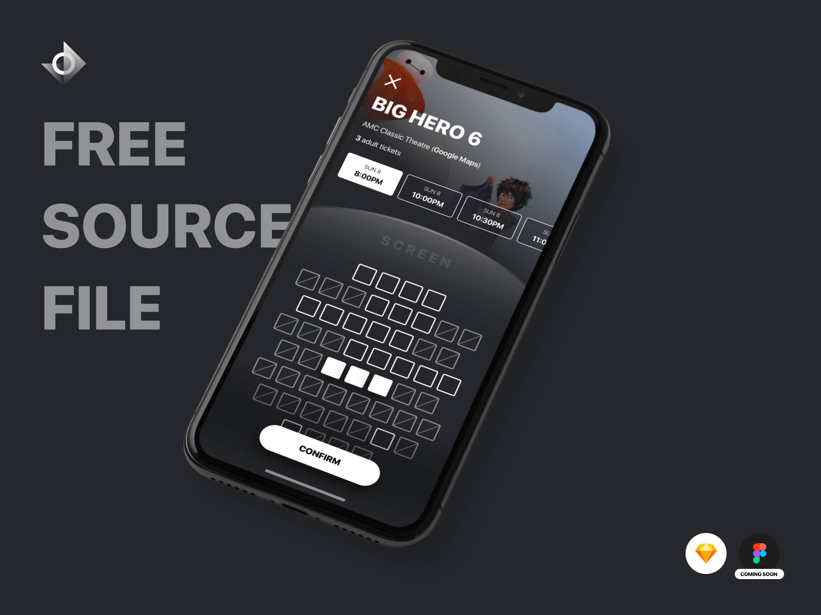 "A mockup of a iPhone X movie ticket seat reservation app with the text ""Free Source File!"""