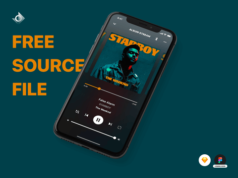 "A mockup of a iPhone X music streaming app with the text ""Free Source File!"""