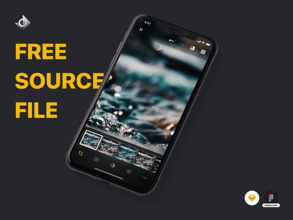"A mockup of a iPhone X photo editing app on the select photo filter screen with the text ""Free Source File!"""
