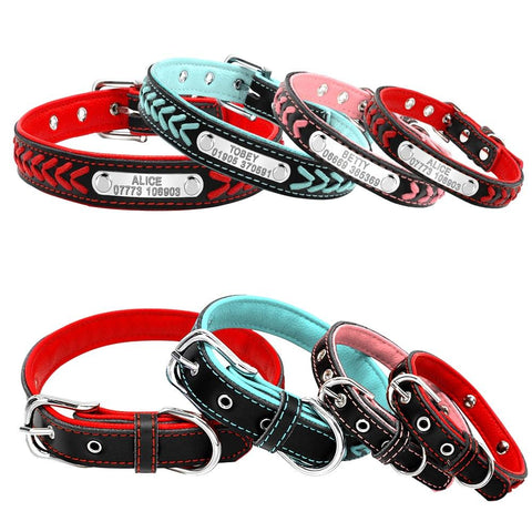 Leather Dog Collar With Personalised Nameplate Pet Collars & Harnesses BestPet