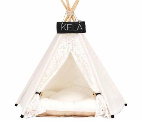 Pet TeePee Tent With Mattress and Name Board 14 Designs! - BestPet