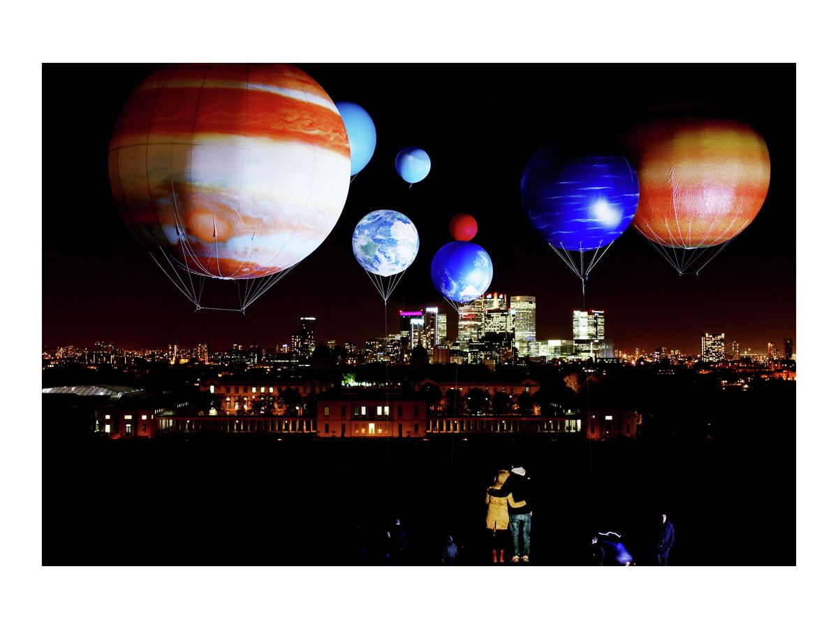 Universe of balloons above Royal Greenwich Observatory, 2010