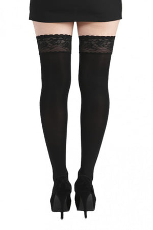 50 denier Opaque Lace Top Thigh High Stay Ups XXXL