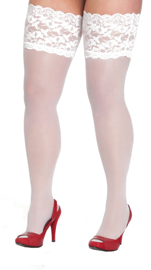 White Lace Top Thigh Highs 3x-5x