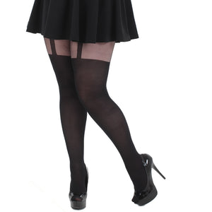 Plain Mock Suspender Tights