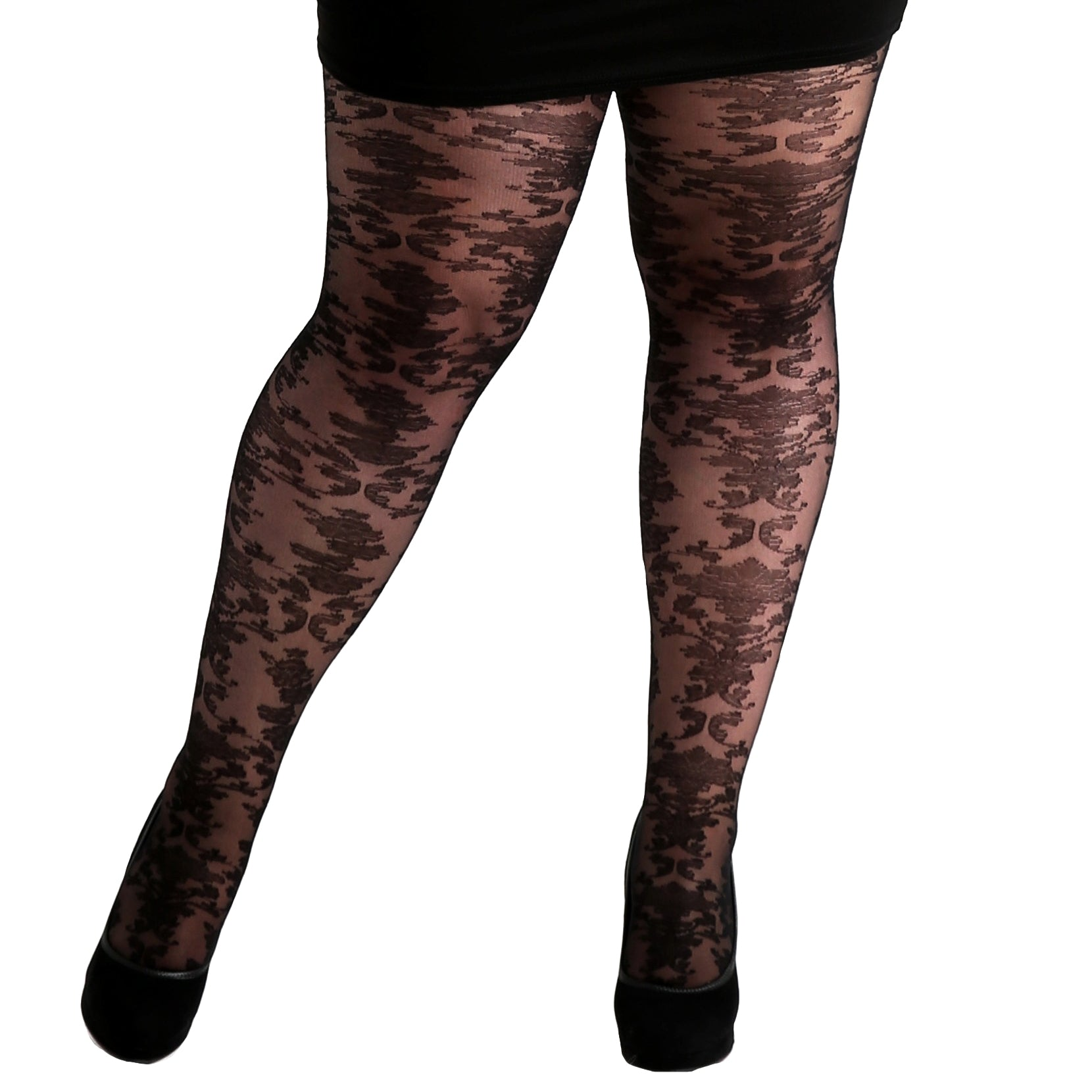 03e38adbb Lace pantyhose with a baroque pattern