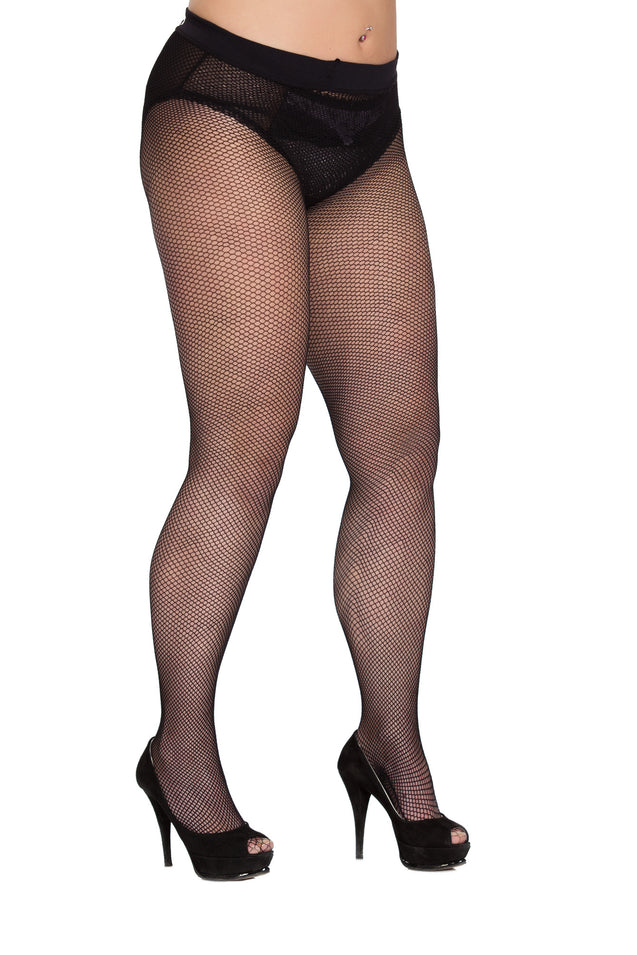 Comfort Fit Black Fishnet Tights 4x-5x