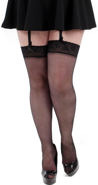 8ae3ca751a4 PLUS SIZE BLACK LACE TOP THIGH HIGH STOCKINGS 2X 3x - Donatella s ...