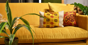 Ochre Stripe Silk Cushion
