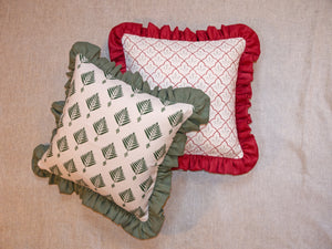 Palm Frill Cushion in Forest