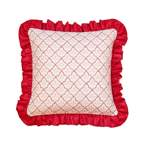 Amer Trellis Frill Cushion in Burgundy
