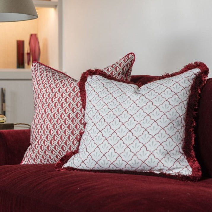 Amer Trellis Cotton Linen in burgundy by haveli design