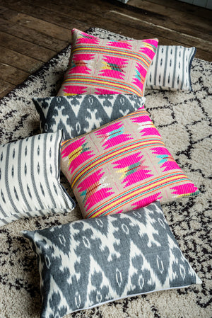 abelia woven cushion in pink haveli design