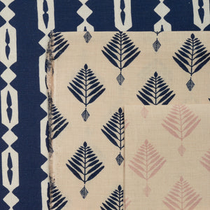 palm linen fabric in indigo by haveli design