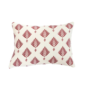 Palm Cushion in Burgundy