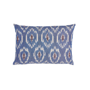 delphinium blue ikat cushion haveli design