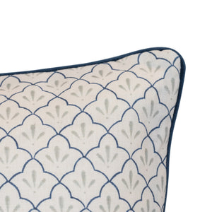 Amer Trellis Indigo with Velvet Piping