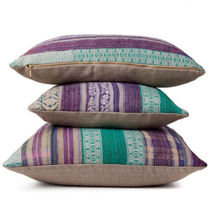 Violet Brocade Kantha Cushion havli design