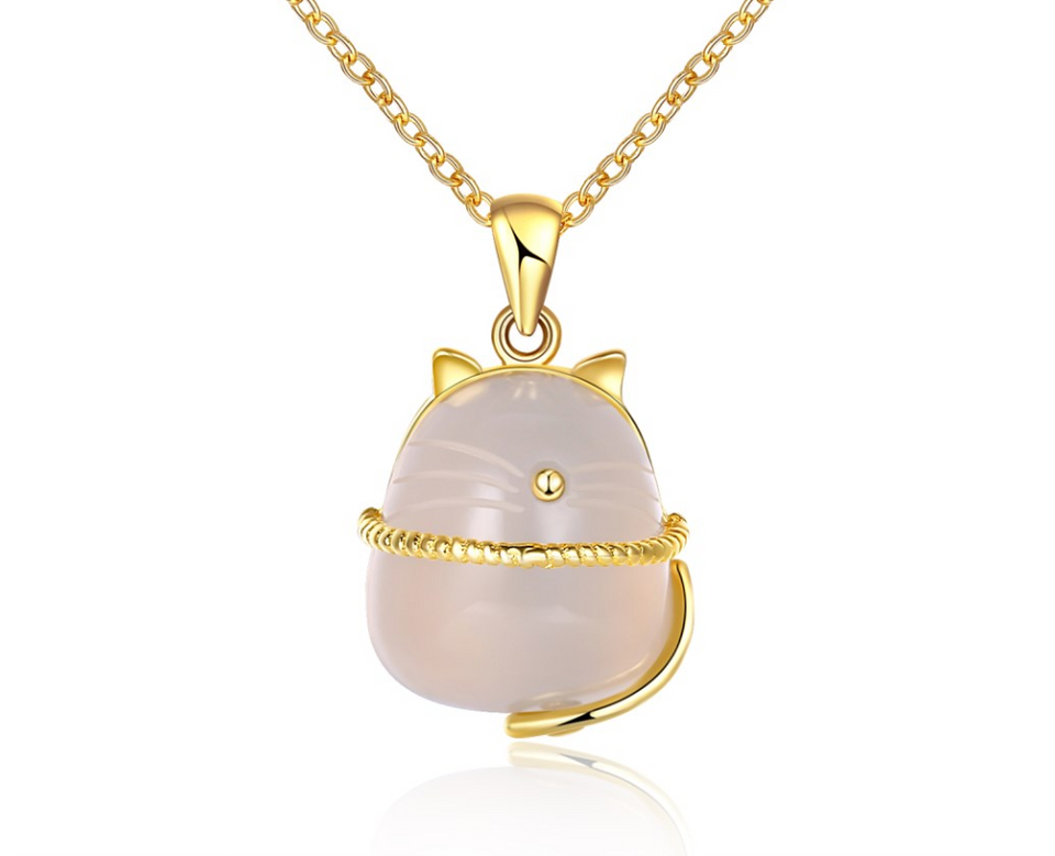 Beautiful And Unique Golden Cat Pendant - NY Square
