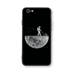 Cat Space Moon Black Case Cover For Iphone - NY Square