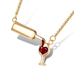 Wine Bottle Pouring Into A Cup Filling Love Heart Necklace - NY Square