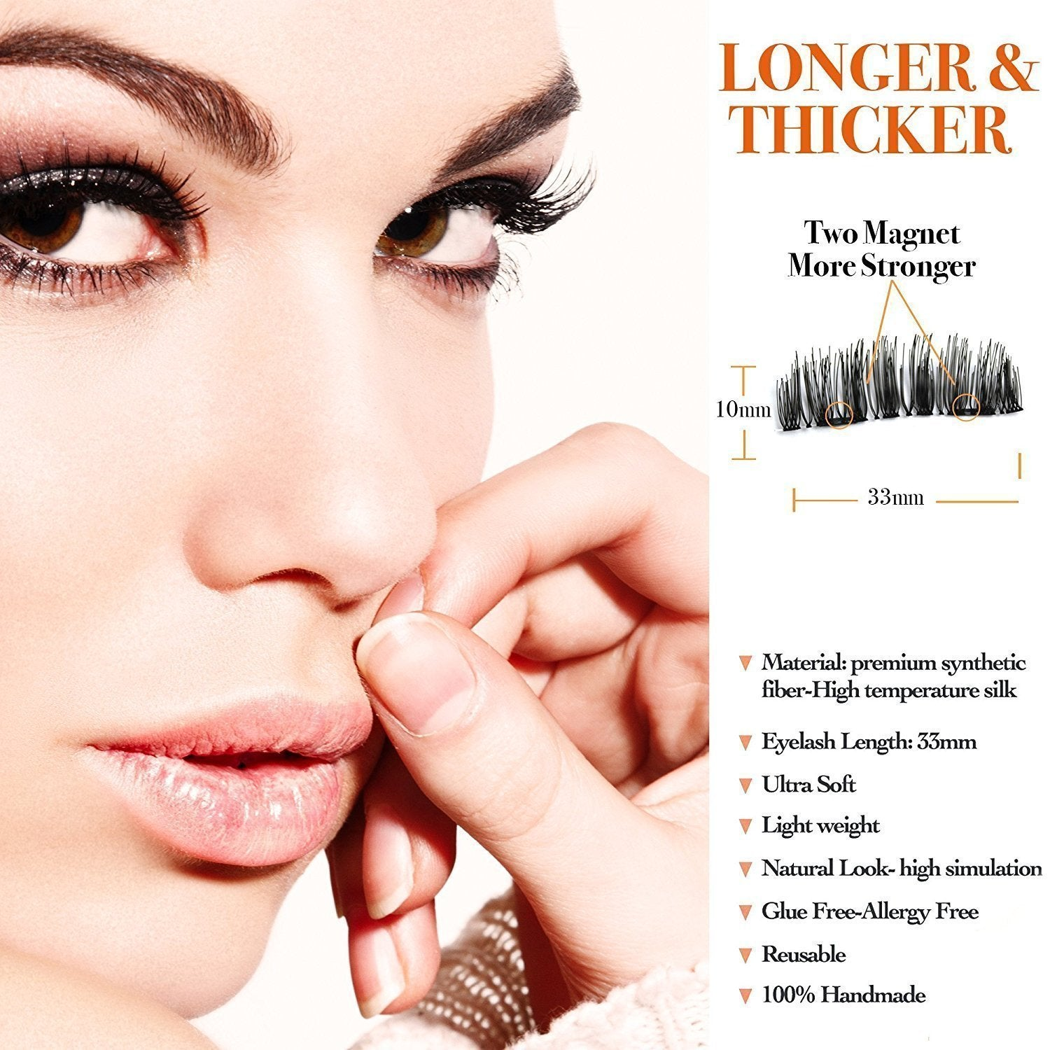80a4bd033ed ... Load image into Gallery viewer, Magnetic Eyelashes Dual Magnet Glue-free  3D Reusable Full ...